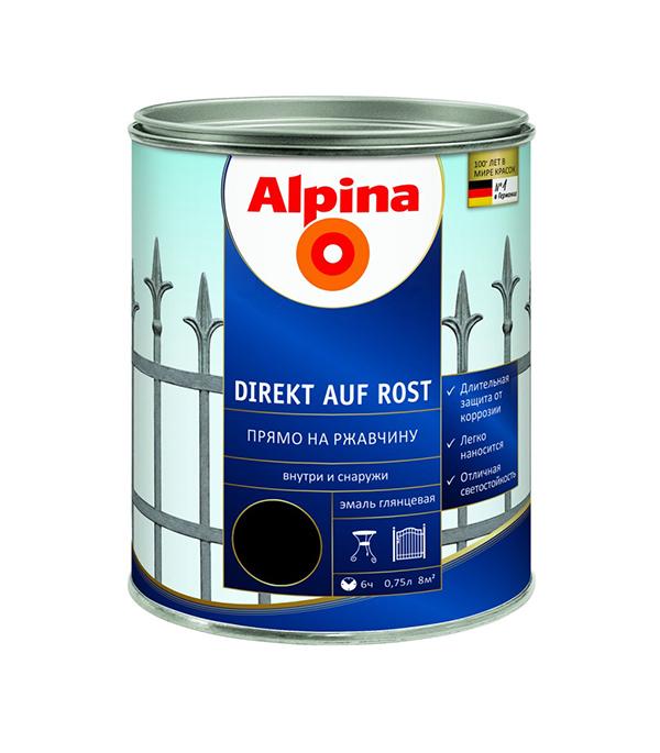 Эмаль по ржавчине Alpina Direkt A Rost RAL9005 Черный 0,75 л