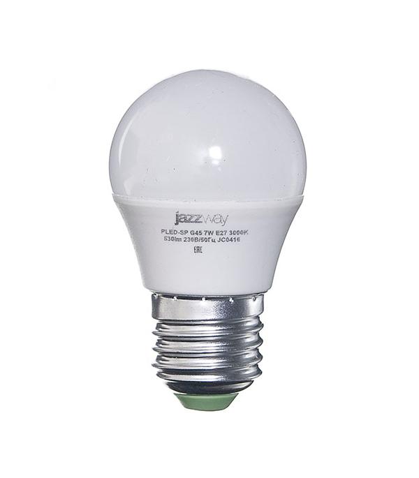 Лампа светодиодная E27,  7W, G45 (шар), 3000K (теплый свет), Jazzway