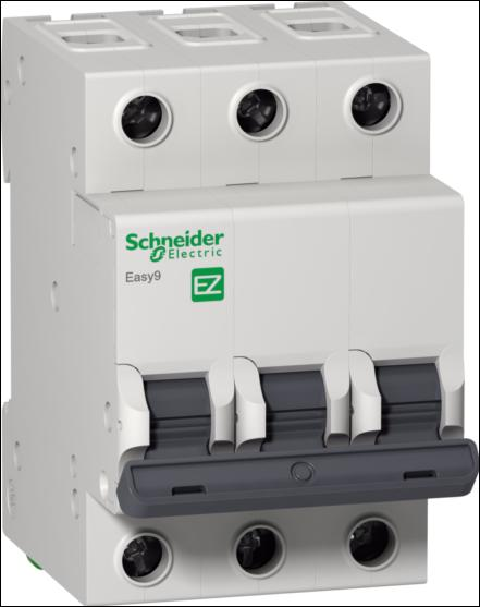 Автомат 3P, 63А, тип С, 4,5кА, Schneider Electric, Easy9