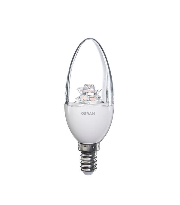Лампа светодиодная E14, 5,4 (6) W, CLB40 (свеча), 2700K (теплый свет), Osram