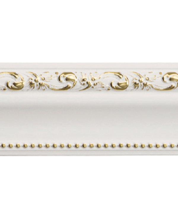 Плинтус (молдинг) 60х22х2400 мм Decomaster белый с золотом