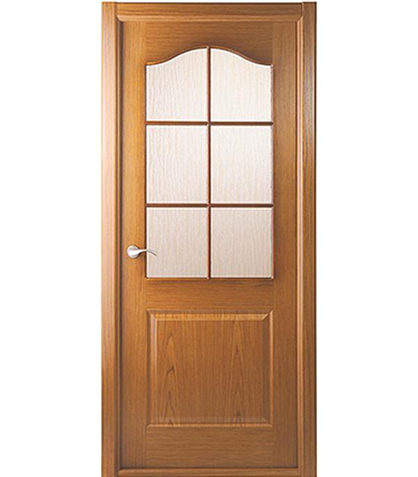 Дверное полотно Белвуддорс Капричеза шпонированное Дуб 600x2000 мм со стеклом без притвора