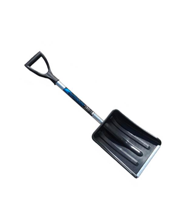 Лопата снеговая пластиковая автомобильная с металлическим черенком 290х365 мм V-ручка