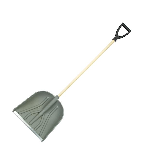 Лопата снеговая пластиковая с деревянным черенком 420х420х1490 мм мини лопата штыковая truper с черенком 69 см