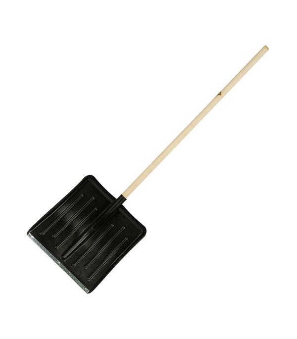 Лопата снеговая пластиковая с деревянным черенком 428х490х1540 мм мини лопата штыковая truper с черенком 69 см