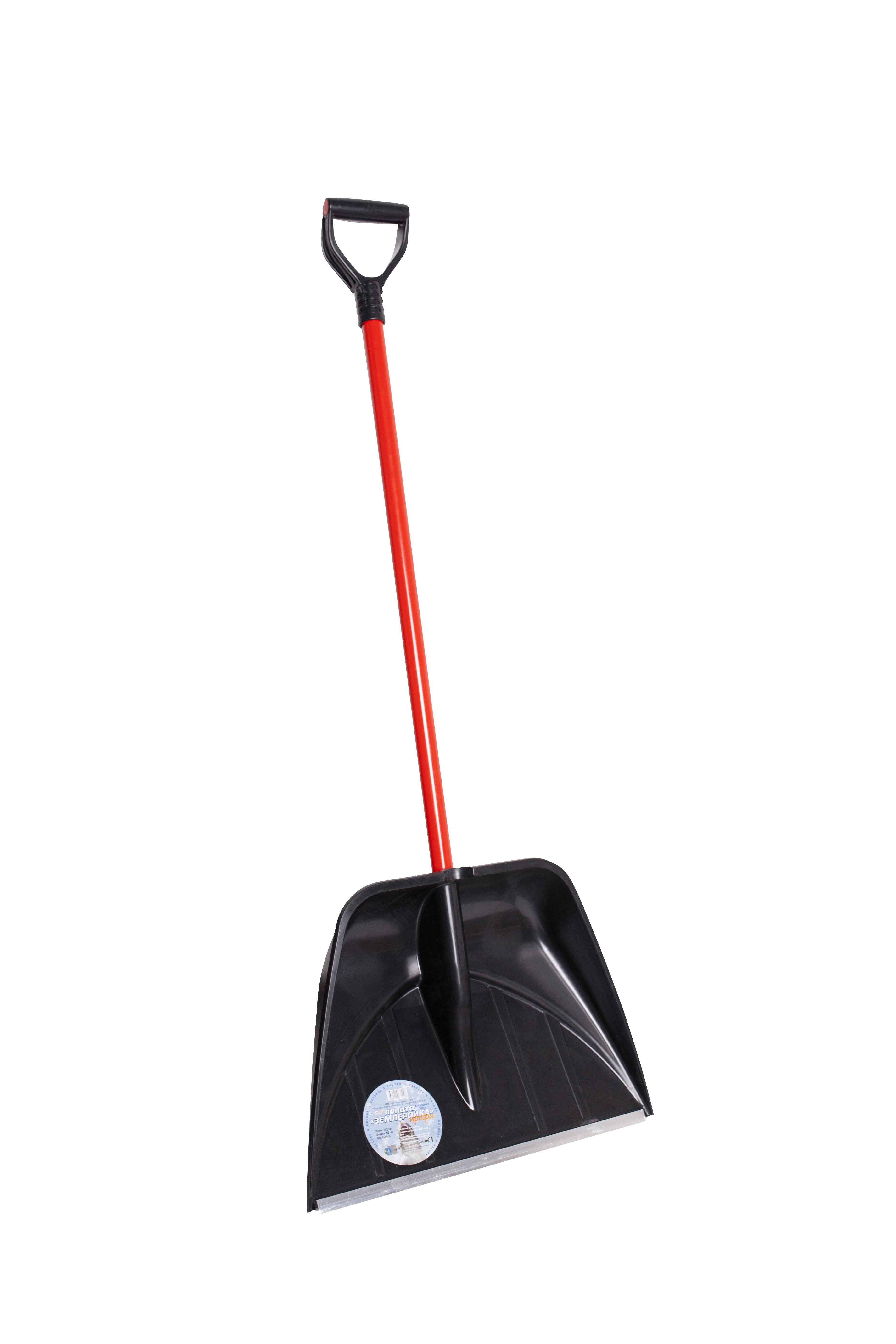 Лопата снеговая пластиковая с черенком 490х400 мм