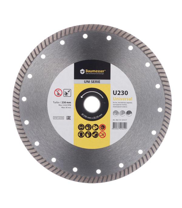 Диск алмазный турбо по бетону 230x1.8x8x22(23) Baumesser диск алмазный турбо с лазерной перфорацией 230х22 2 мм gross 73034