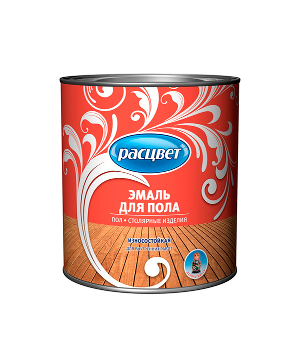 Эмаль для деревянных полов золотисто-коричневая Расцвет 2,7 кг