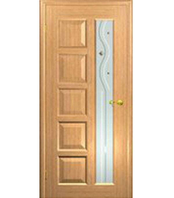 Дверное полотно  ДПО Иван-да-Марья  шпонированное св.дуб 700 x 2000 мм без притвора со стеклом