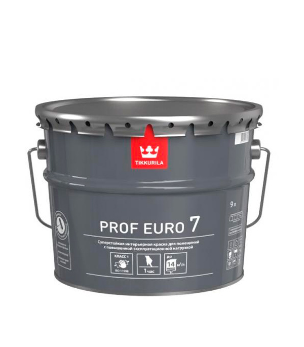 Краска в/д стойкая к мытью PROF EURO 7 основа C мат 9 л цена и фото