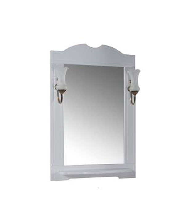 Зеркало Астра 650 мм, декор с полочкой и светильниками