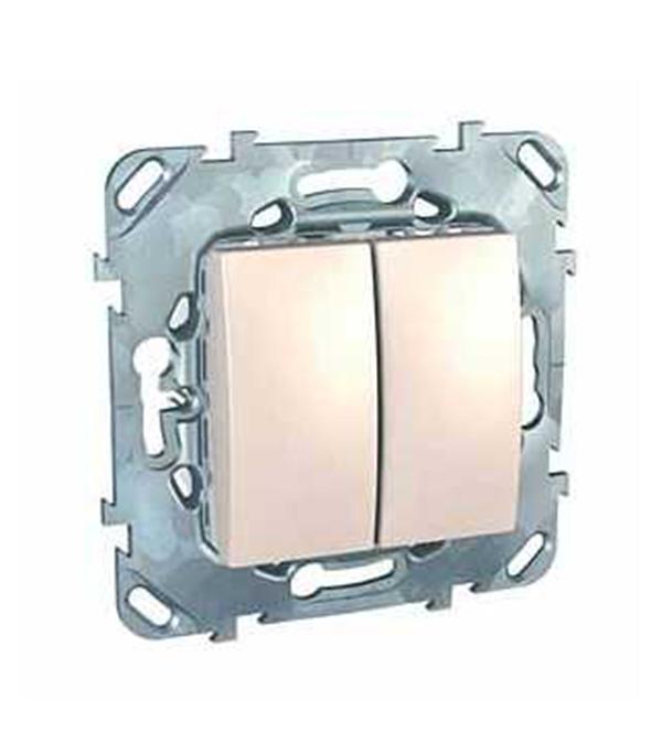 Механизм выключателя двухклавишного Schneider Electric Unica с/у бежевый механизм розетки компьютерной с у schneider electric unica бежевый