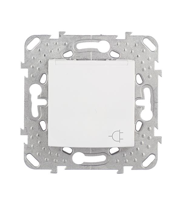 Механизм розетки с/у с заземлением с крышкой Schneider Electric Unica белый