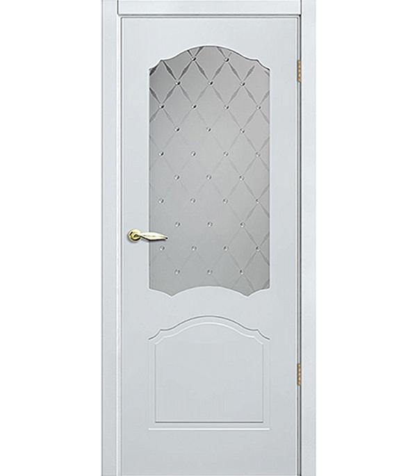 Дверное полотно белое эмалевое Арктика 600х2000 мм, со стеклом