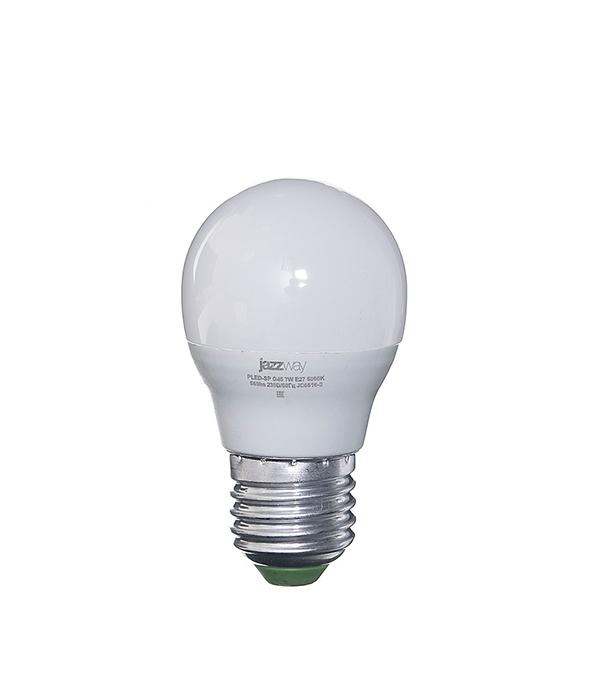 Лампа светодиодная E27,  7W, G45 (шар), 5000K (холодный свет), Jazzway