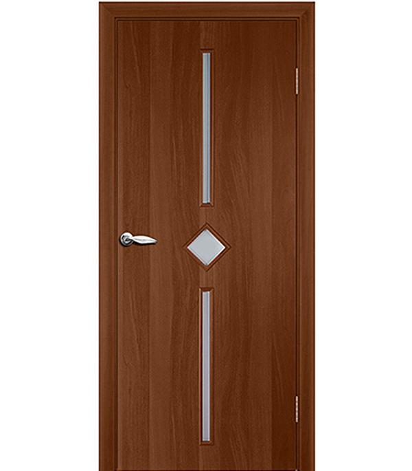 Дверное полотно ламинированное Кристалл Итальянский орех гладкое 800х2000 мм со стеклом