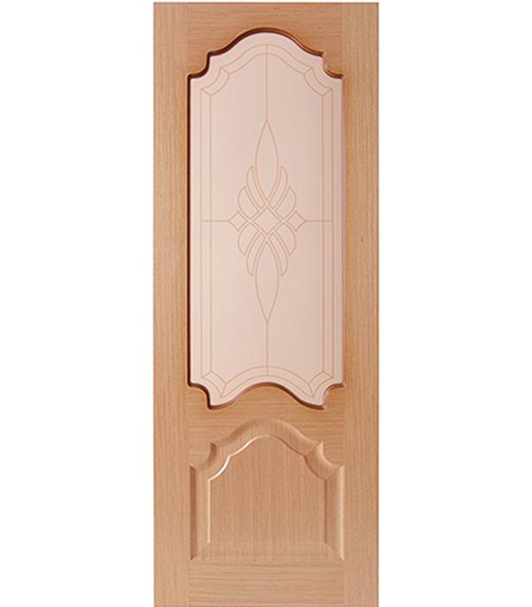 Дверное полотно  ДПО Верона  шпонированное Светлый дуб 700 x 2000 мм без притвора со стеклом