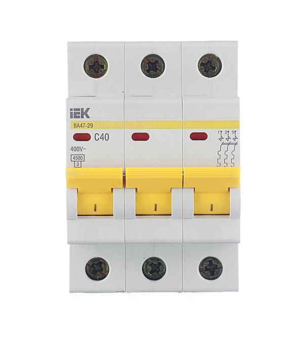 Автомат 3P 40А тип С 4.5 kA IEK ВА 47-29 автомат 1p 40а тип с 4 5 ka iek ва 47 29