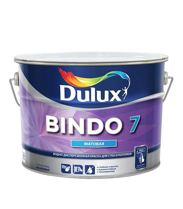 Краска в/д Dulux Bindo 7 основа BW матовая 10 л краска в д ослепительно белая dulux 10 л