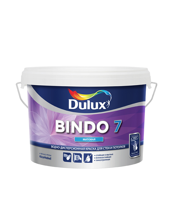 Краска в/д Dulux Bindo 7 основа BW матовая 2.5 л краска в д bindo 7 основа bc матовая dulux 2 5 л