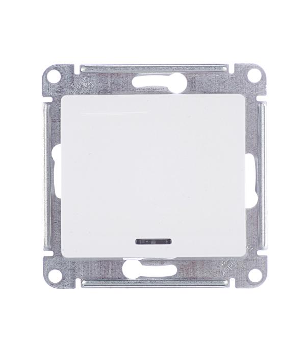 Механизм выключателя одноклавишного Schneider Electric Glossa с/у с подсветкой белый механизм выключателя schneider electric glossa белый 1 клавишный gsl000111