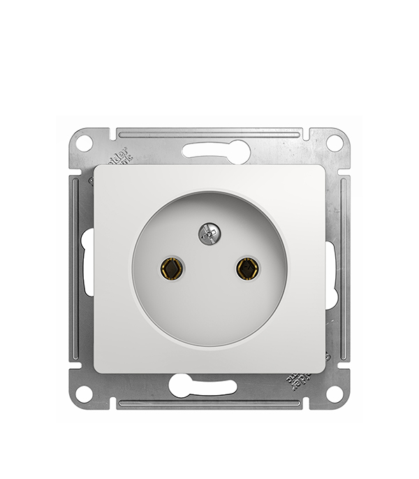 Механизм розетки Schneider Electric Glossa с/у без заземления белый механизм выключателя schneider electric glossa белый 1 клавишный с подсветкой gsl000113