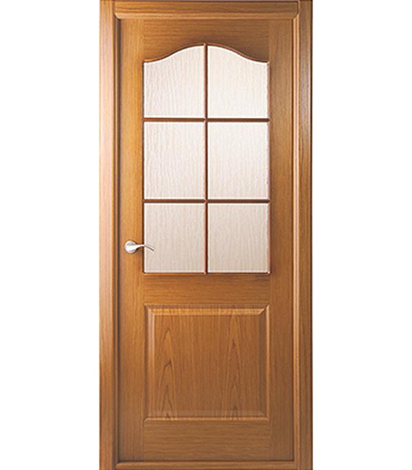 Дверное полотно Белвуддорс Капричеза шпонированное Дуб 700x2000 мм со стеклом без притвора