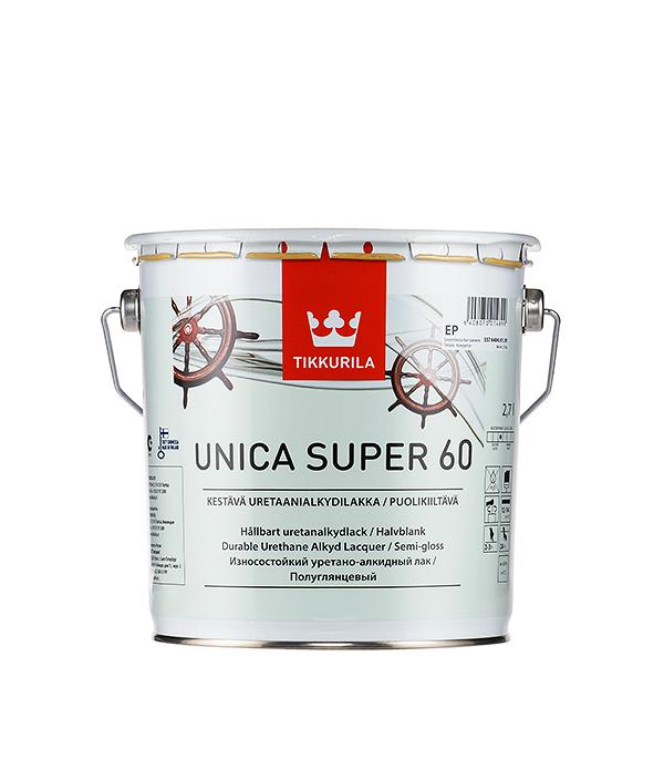 Яхтный лак Tikkurila Unica Super основа EP полуглянцевый 2.7 л  лак яхтный unica super основа ep полуматовый тиккурила 9 л