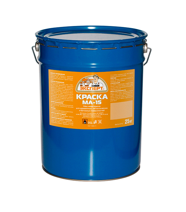 Краска масляная МА-15 желтая Эксперт 25 кг