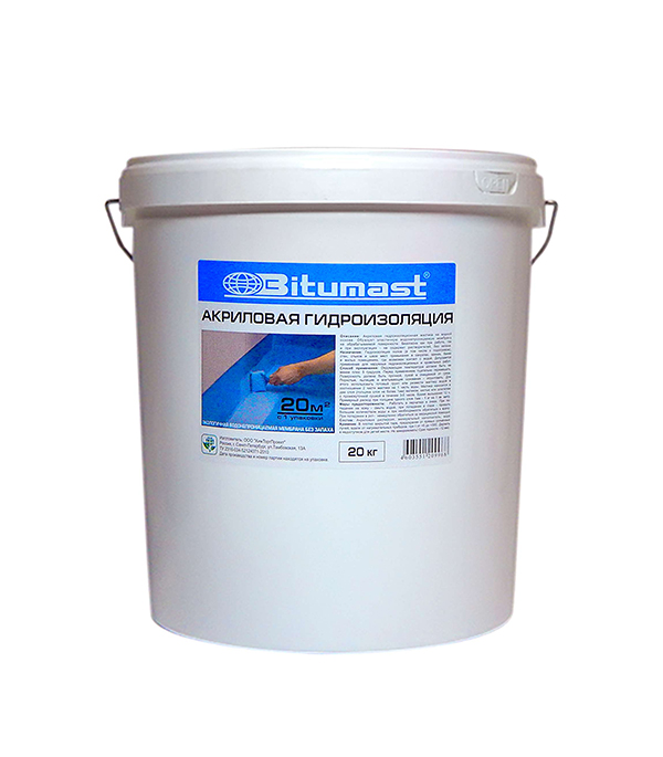 Гидроизоляция акриловая Bitumast 20 кг гидроизоляция акриловая bitumast 7 кг