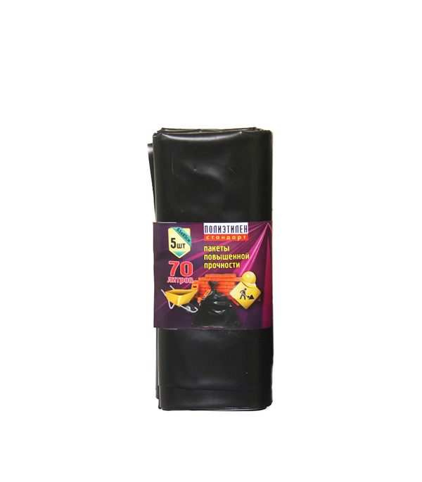 Пакеты п/э повышенной прочности (пакеты для строительного мусора), 70 л, упаковка 5 шт