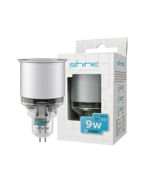Лампа энергосберегающая МR16, GU5.3,  9W, Reflector, 4200К(4000К) (холодный свет), Shine