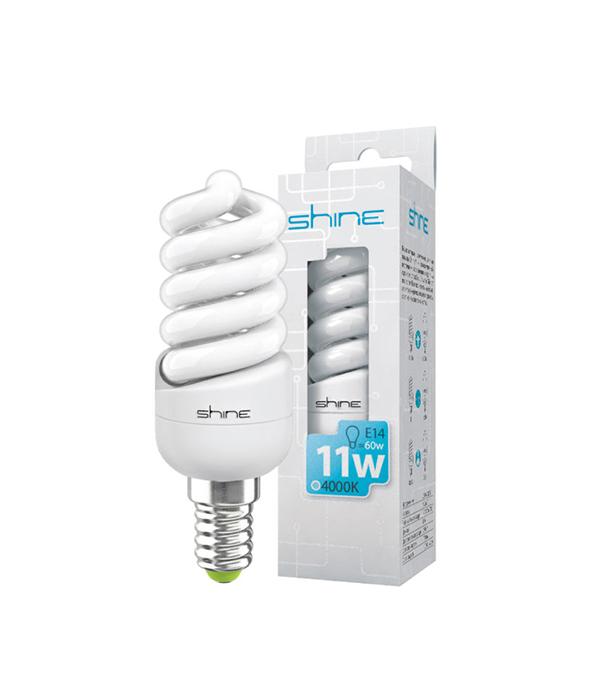 ььЛампа энергосберегающая E14, 11W, Spiral, 4200К(4000К) (холодный свет), Shine