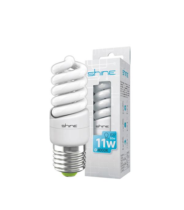 ььЛампа энергосберегающая E27, 11W, Spiral, 4200К(4000К) (холодный свет), Shine