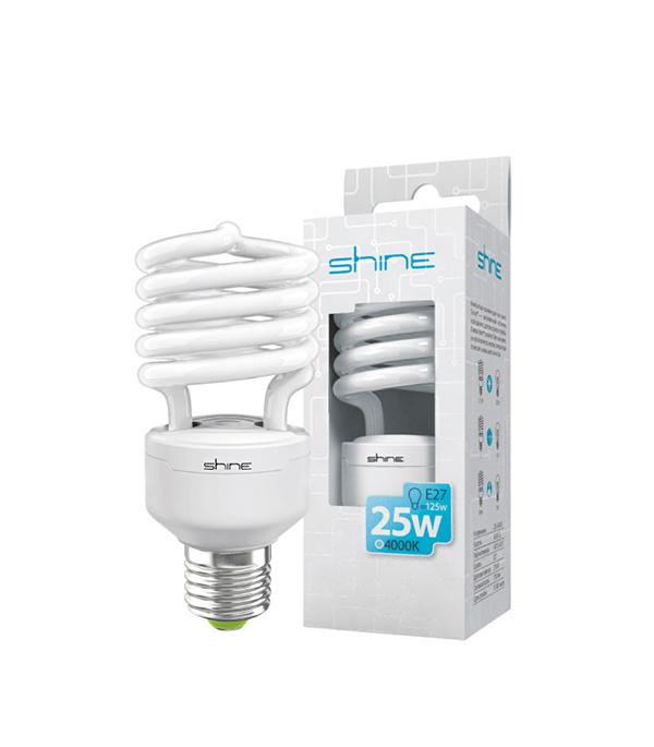 ььЛампа энергосберегающая E27, 25W, Spiral, 4200К(4000К) (холодный свет), Shine