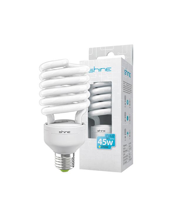 ььЛампа энергосберегающая E27, 45W, Spiral, 2700K (теплый свет), Shine