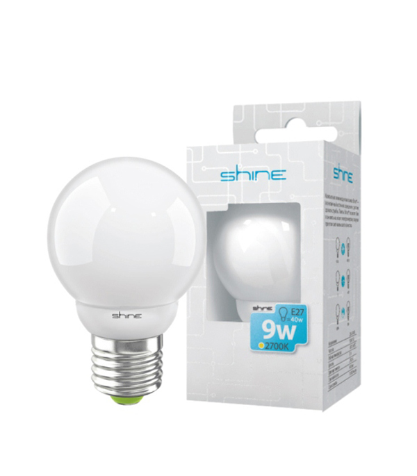 ььЛампа энергосберегающая E27,  9W, Golf, 2700K (теплый свет), Shine