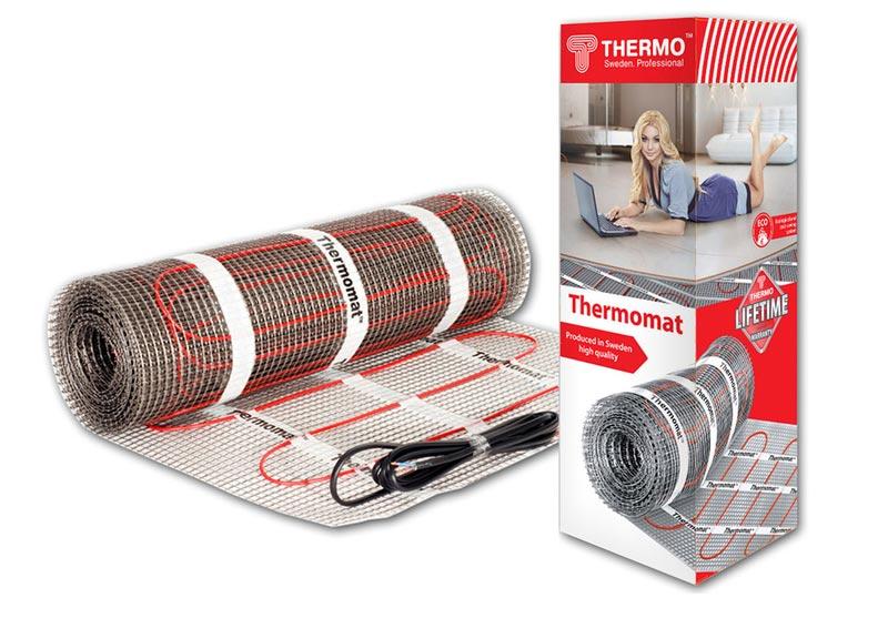 Комплект теплого пола Thermo Thermomat 6 кв.м 180 Вт (1100 Вт) терморегулятор для теплого пола теплолюкс тс 201 белый