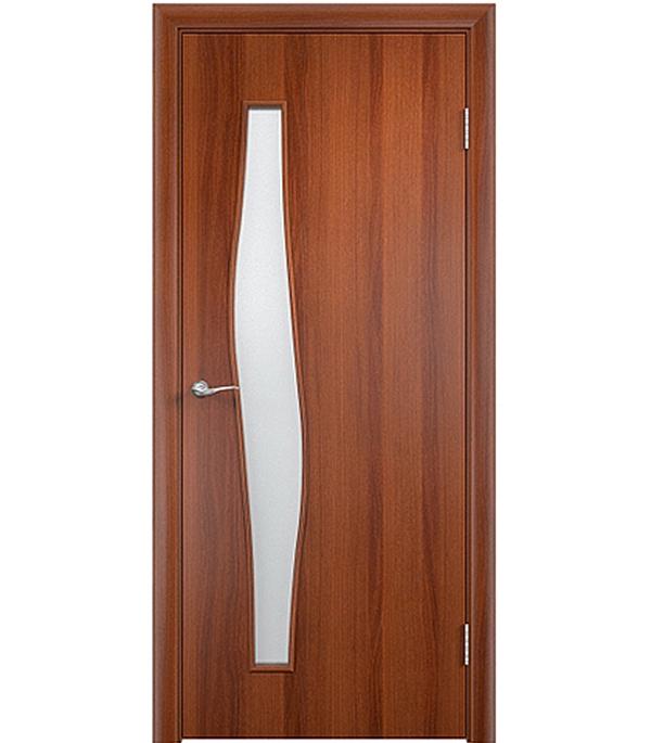 Дверное полотно ламинированное Верда С-10 Итальянский орех 600х2000 мм, остекленное Сатинато