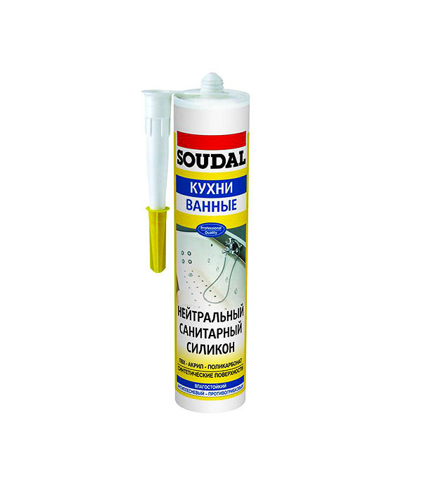 Герметик нейтрально-санитарный Soudal 300 мл белый герметик для паркета soudal бук 300 мл