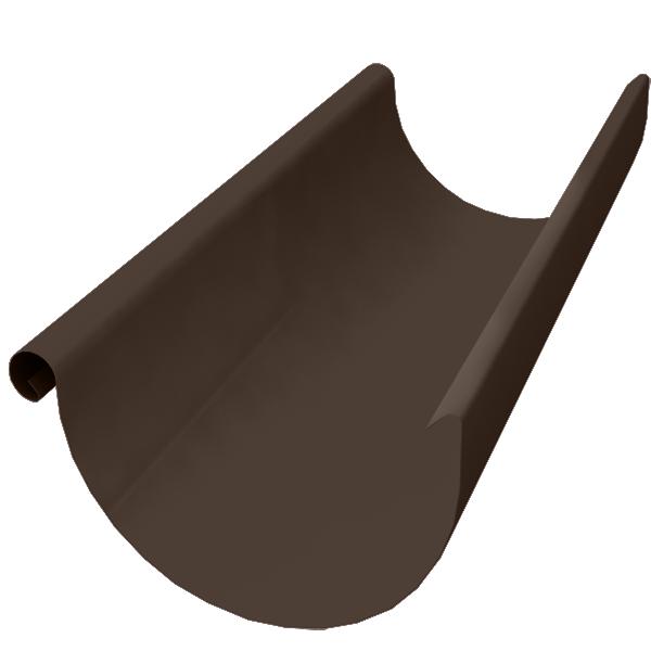 Желоб водосточный Grand Line 125 мм коричневый 2.5 м металлический угол желоба внутренний grand line 125 90° красное вино металлический