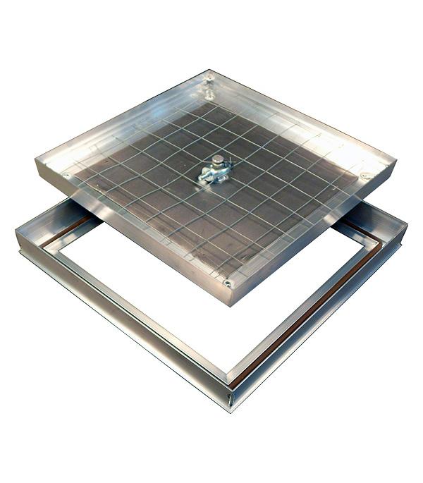 Люк ревизионный 500х500 мм напольный съемный алюминиевый Барьер Практика