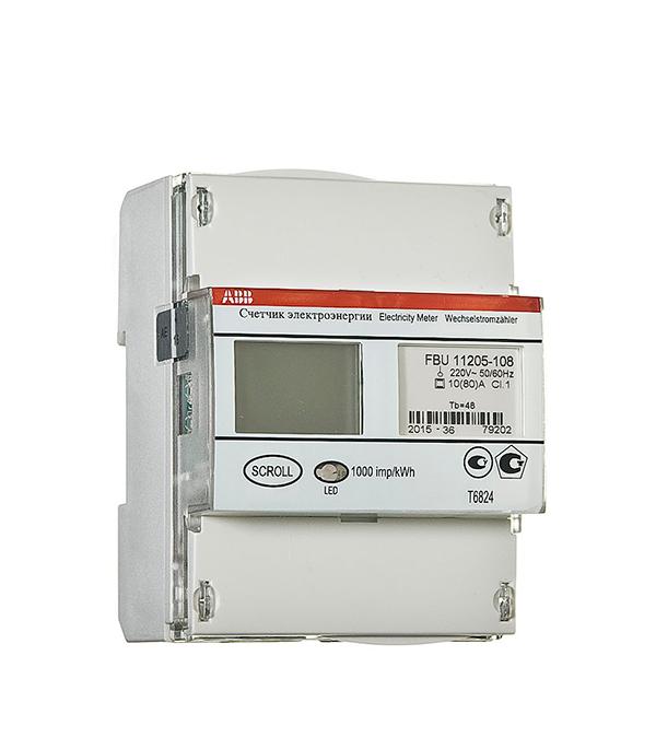 Счетчик 1-фазный электронный 2-тарифный FBU 11205-108 (10-80А) с тарификатором ABB на дин-рейку