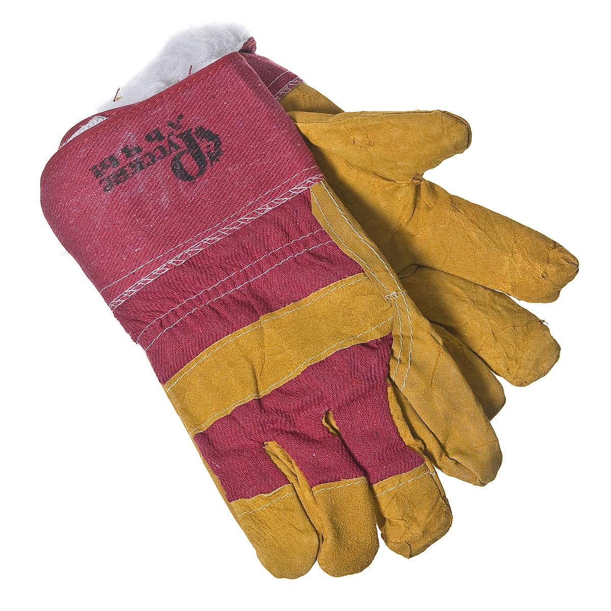Перчатки утепленные спилковые, краги
