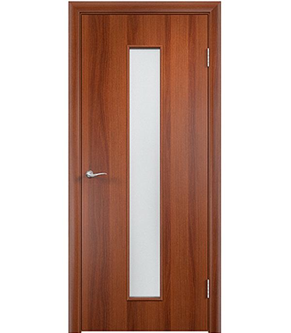 Дверное полотно ламинированное Верда С-17 Итальянский орех 600х2000 мм, остекленное Сатинато