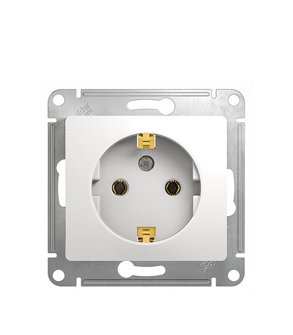 Механизм розетки Schneider Electric Glossa с/у с заземлением белый механизм выключателя schneider electric glossa белый 1 клавишный с подсветкой gsl000113
