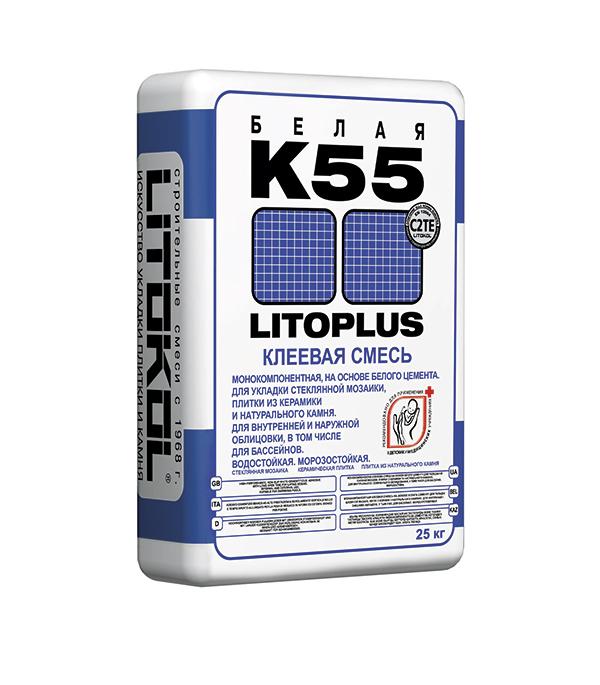 Литоплюс K55 (белый клей для мозаичной плитки), 25кг