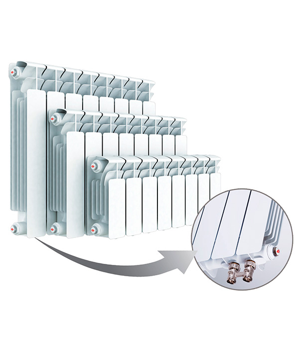 Радиатор биметаллический 3/4RifarBaseVentil 500,  4секции,справымнижнимподключением купить чугунный радиатор отопления 3 секции