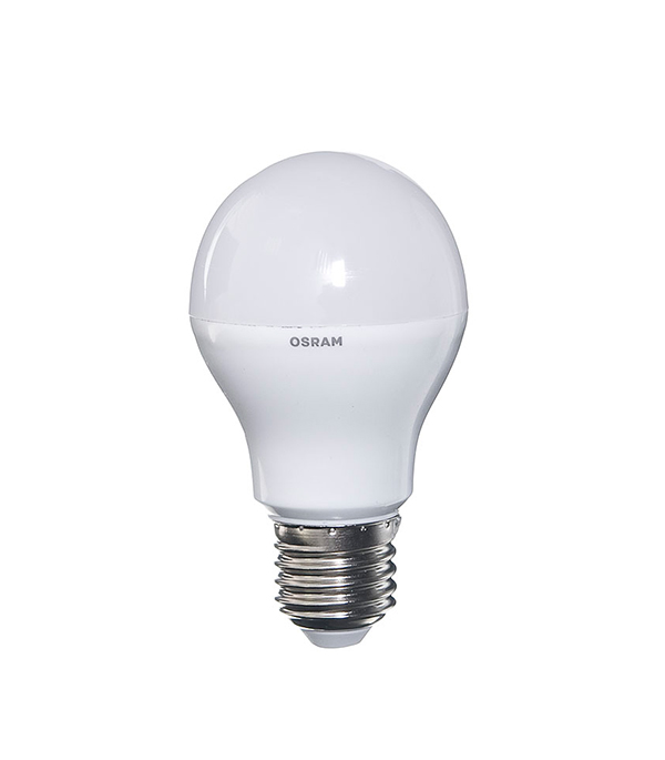 Лампа светодиодная E27, 10W, A60 (груша), 2700K (теплый свет), Osram