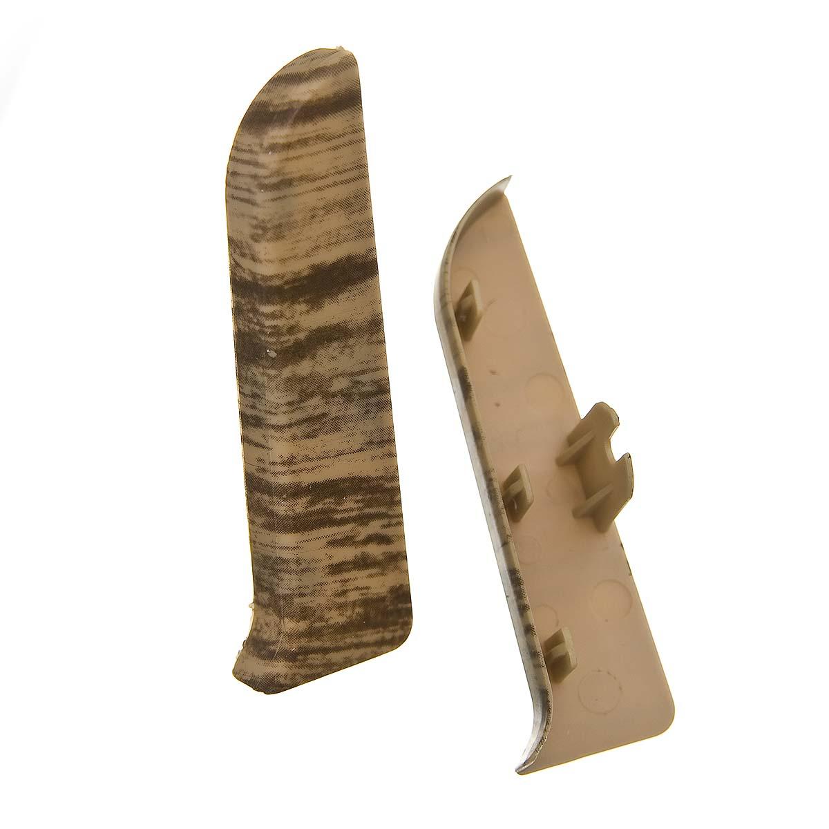 Заглушки торцевые (левая+правая) к плинтусу 86 мм королевский белый дуб Nexus